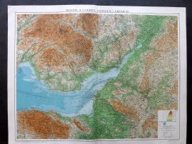 Gross 1920 Large Map. Bristol & Cardiff District - Physical